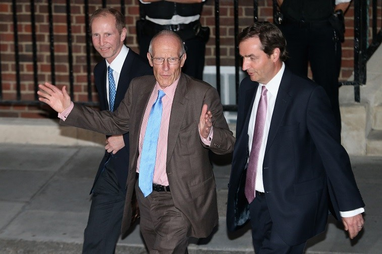 Doctors Guy Thorpe-Beeston, Marcus Setchell, and Alan Farthing leave the Lindo Wing following the birth of the son of The Duke and Duchess of Cambridge at St Mary's Hospital on July 22, 2013 in London, England.