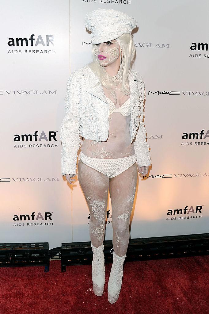 Lady Gaga attends the amfAR New York Gala co-sponsored by M.A.C. Cosmetics to Kick Off Fall 2010 Fashion Week