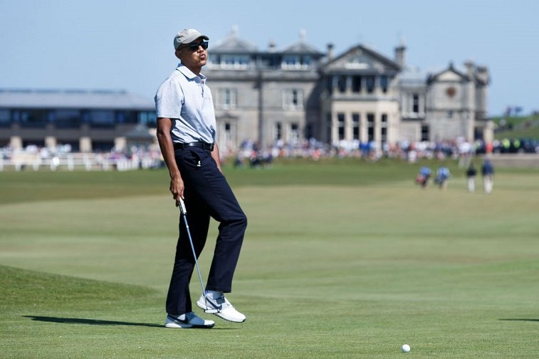Former United States President Barack Obama plays a round of golf at the Old Course on May 26, 2017 in St Andrews, Scotland.