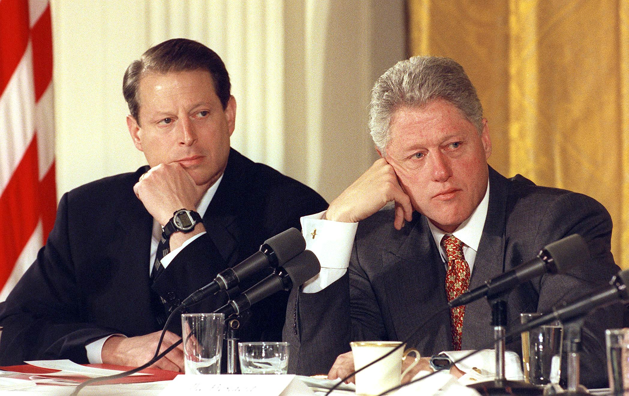US President Bill Clinton and Vice President Al Gore