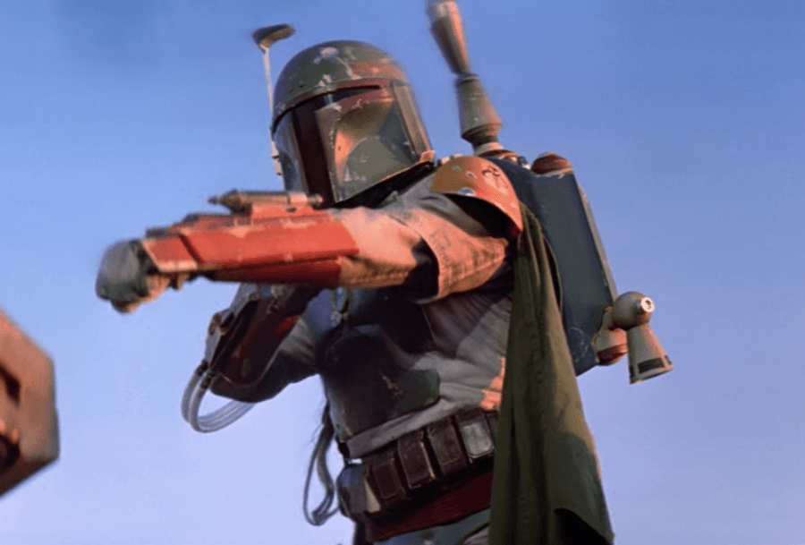 Boba Fett aiming his weapon.