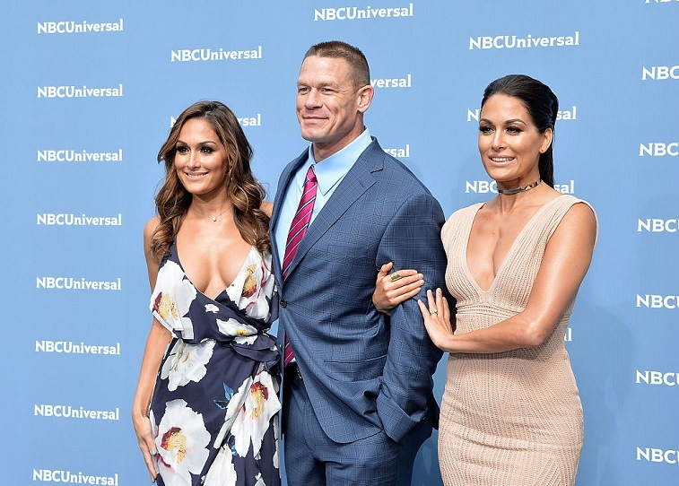 Nikki Bella, John Cena and Brie Bella attend the NBCUniversal 2016 Upfront Presentation on May 16, 2016 in New York, New York.