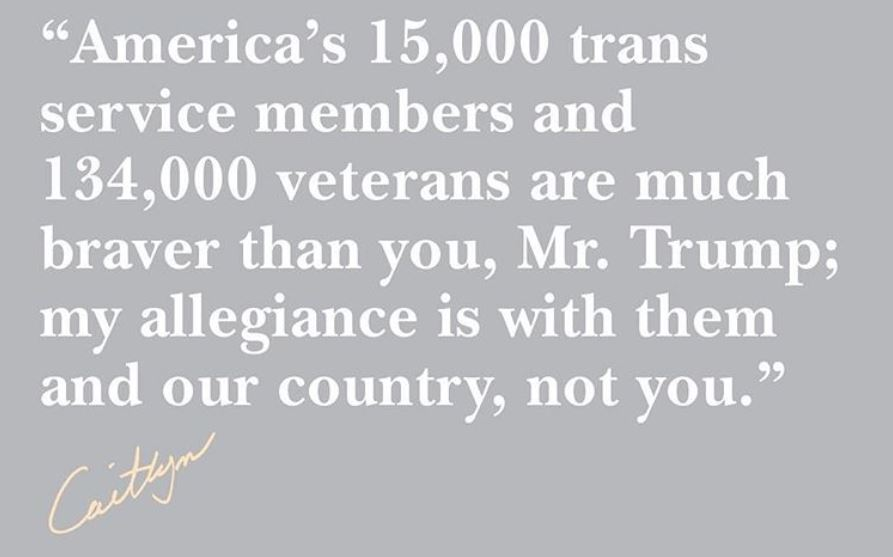 Caitlyn Jenner quote about trans veterans and soldiers