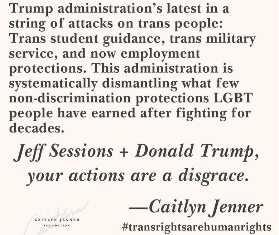 Caitlyn Jenner statement to Trump administration