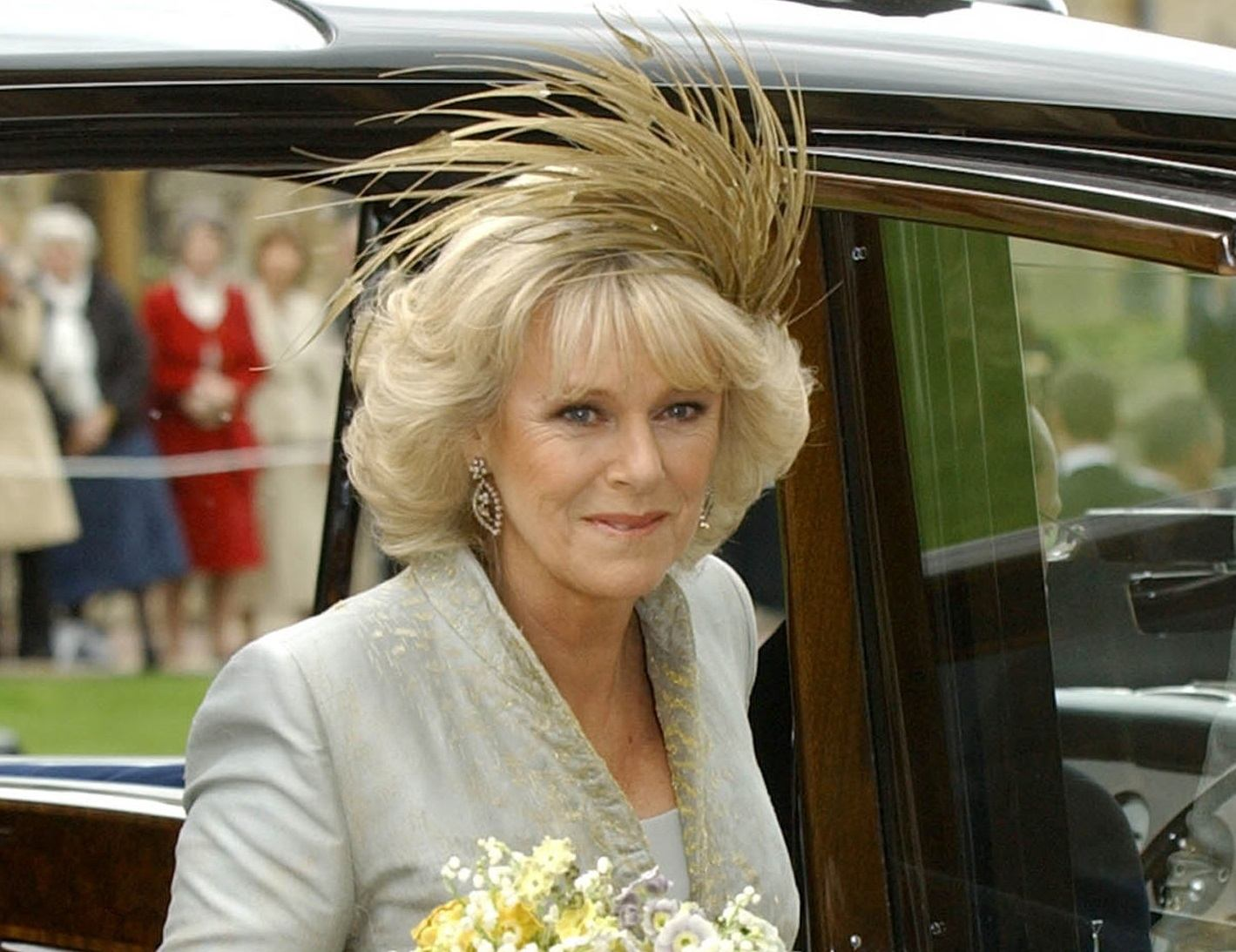 The Duchess of Cornwall, formerly Camilla Parker Bowles, arrives at St Georges Chapel in Windsor Castle after her civil wedding to Prince Charles 09 April. Prince Charles and his longtime sweetheart Camilla Parker Bowles married today after two months of muddled preparations and a lifetime of waiting.