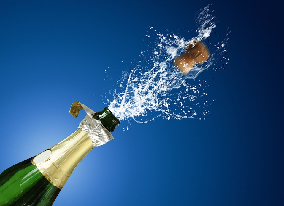 champaign popping and splashing
