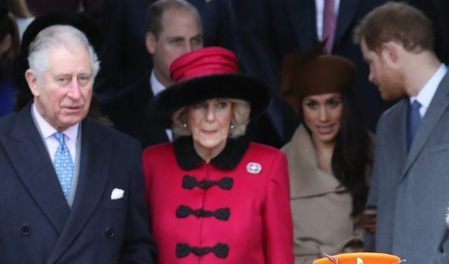 Prince Charles, Prince of Wales, Camilla, Duchess of Cornwall, Meghan Markle and Prince Harry attend Christmas Day Church service at Church of St Mary Magdalene on December 25, 2017 in King's Lynn, England.