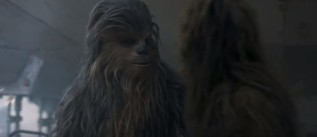 Chewie in the Solo: A Star Wars Story trailer
