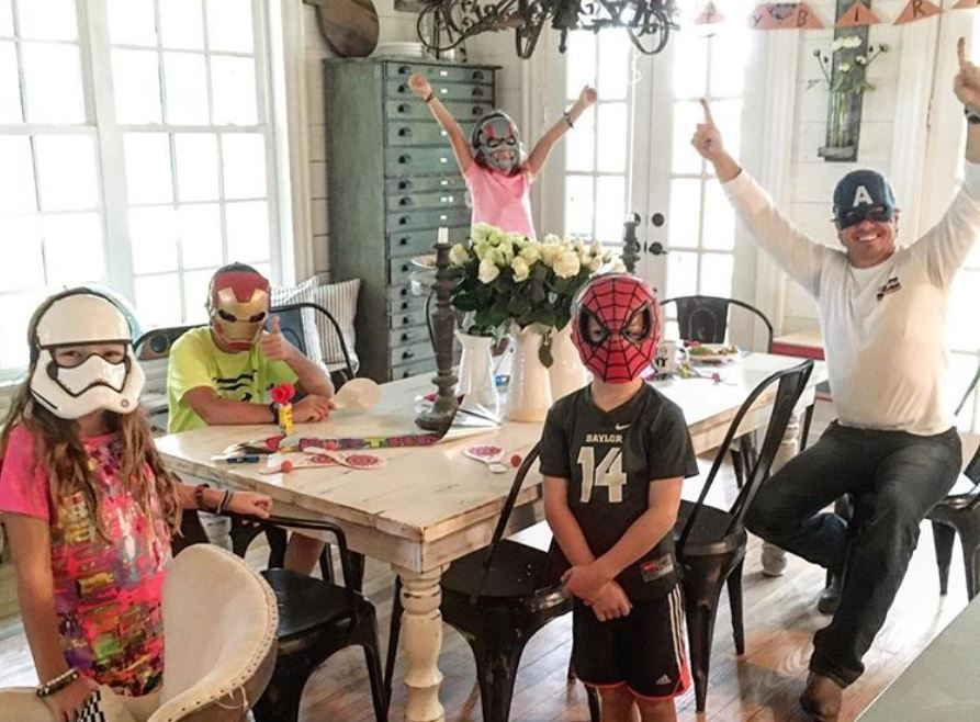 Chip Gaines and his four kids with Joanna as superheroes