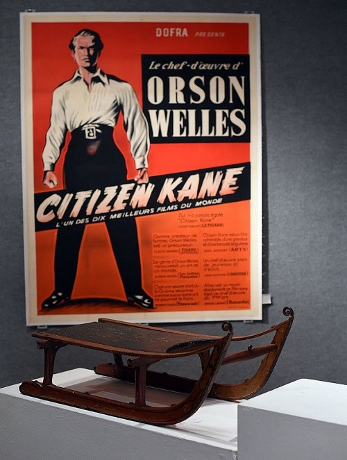 """Screenwriter Herman Mankiewicz's """"Rosebud"""" sled, gifted to him at the conclusion of principal photography for Citizen Kane is displayed during a press preview on November 19, 2015 in New York, as Bonhams And Turner Classic Movies (TCM) Present """"Treasures from the Dream Factory"""" auction to take place November 23 in New York."""