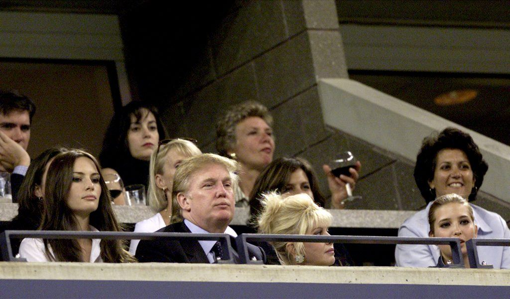 Trump and his wives at tennis