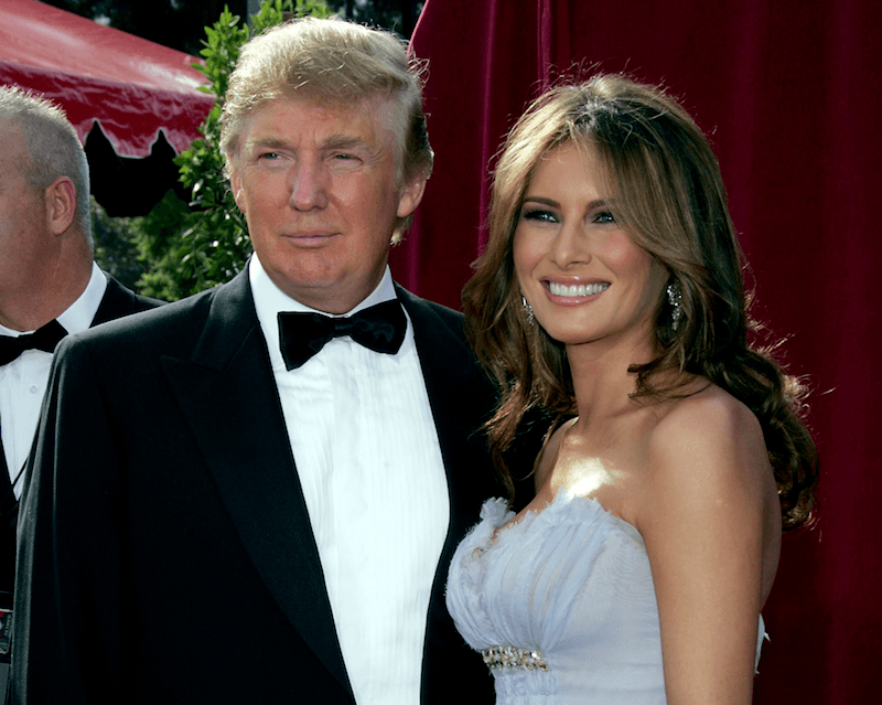 Donald and Melania Trump smile at the Emmys