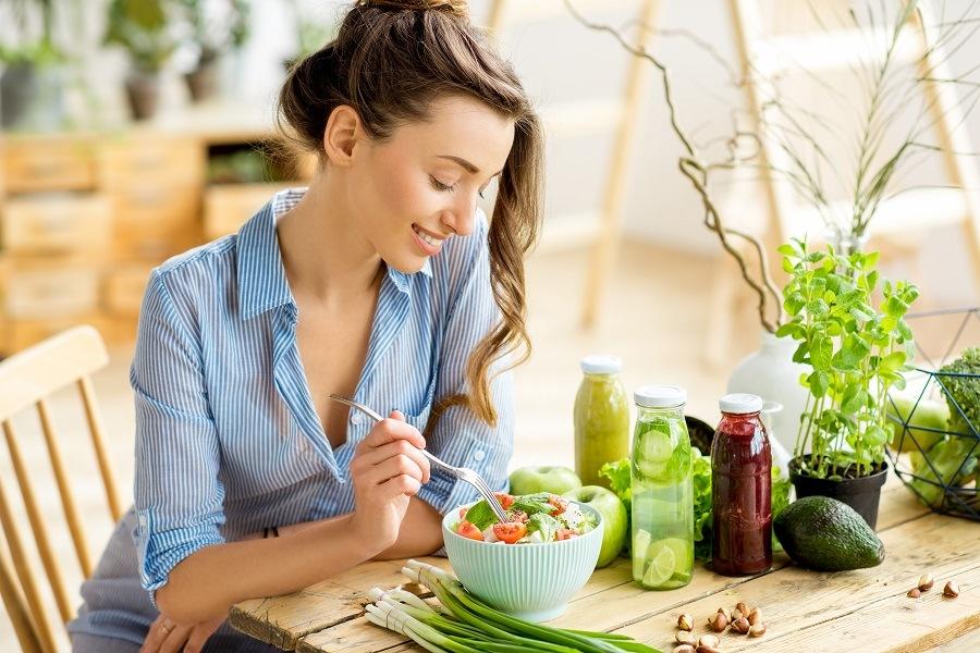 Woman eating a healthy salad