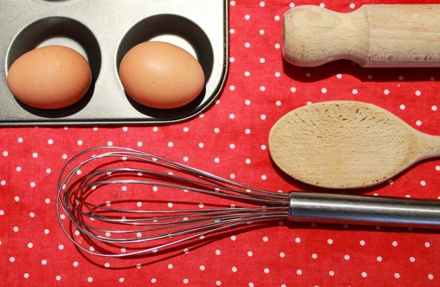 Eggs and kitchen tools.