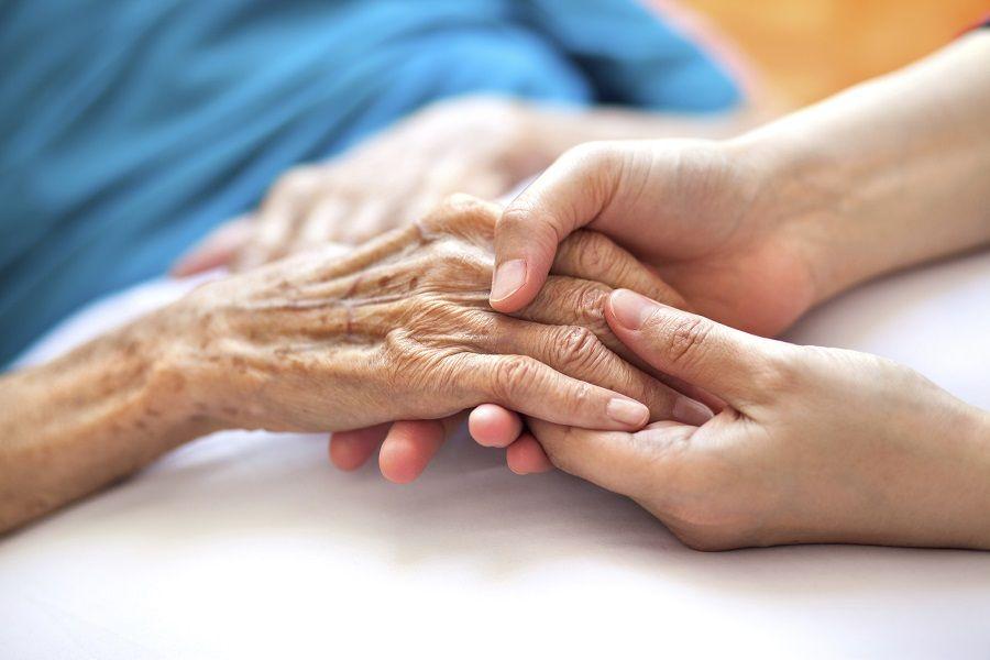 Nurse holding elderly Patient hands