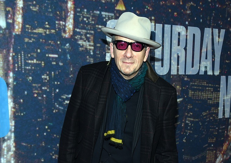 Elvis Costello attends SNL 40th Anniversary Celebration at Rockefeller Plaza on February 15, 2015 in New York City.