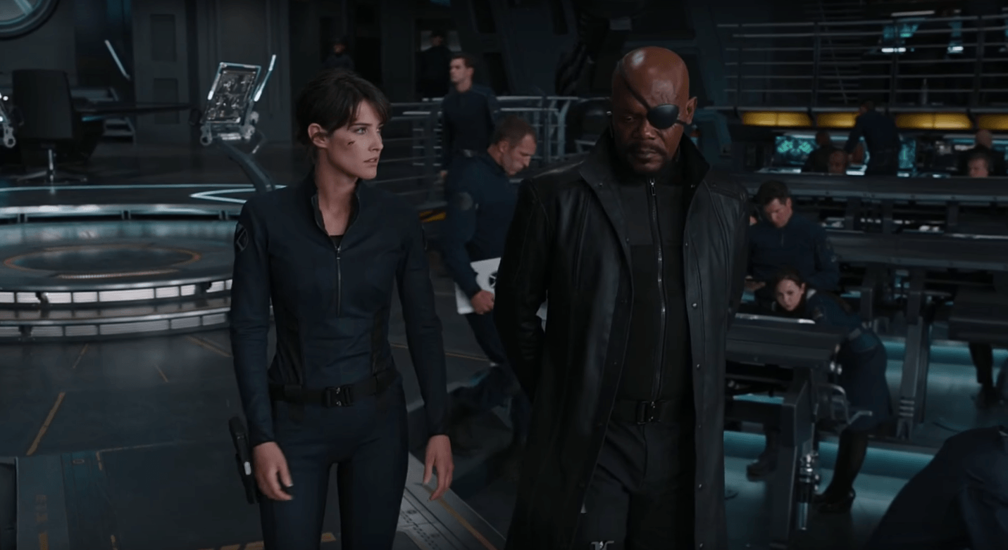 Nick Fury and Maria Hill in The Avengers