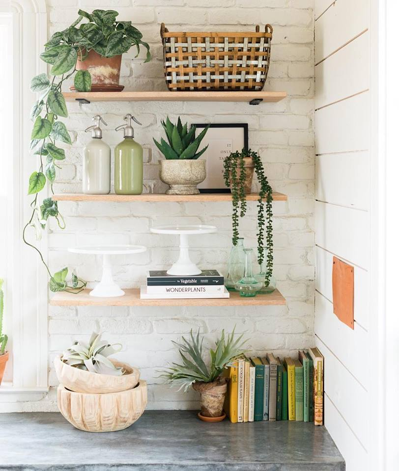 decorated shelves