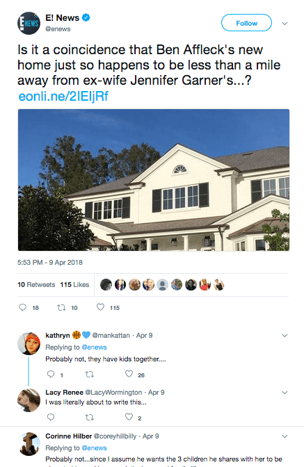 E! News tweet about Ben Affleck's new house.