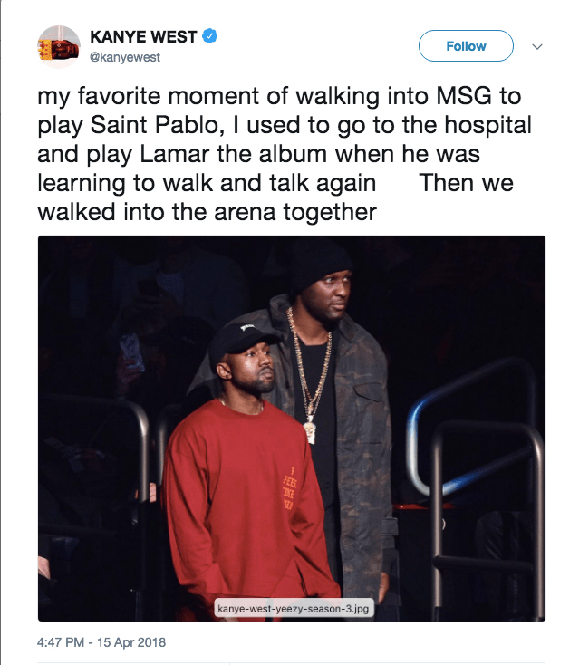 Kanye West's tweet of a photo of him and Lamar Odom, as well as a heartfelt message
