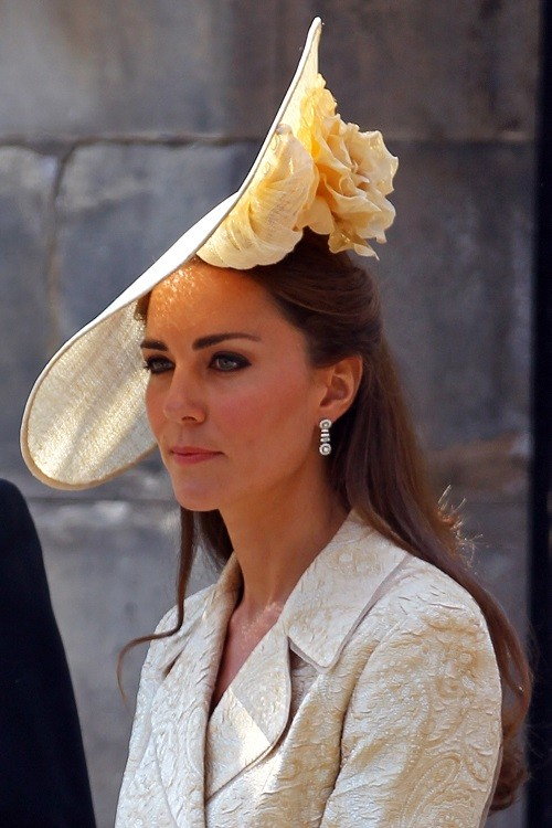 Catherine, Duchess of Cambridge departs from the Royal wedding of Zara Phillips and Mike Tindall at Canongate Kirk on July 30, 2011 in Edinburgh, Scotland.