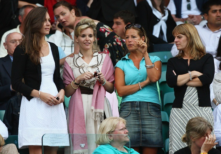 Prince William's girlfriend Kate Middleton and her friends including Sophie Carter (2nd L) attends day six of the Wimbledon Lawn Tennis Championships at the All England Lawn Tennis and Croquet Club on June 28, 2008 in London, England.