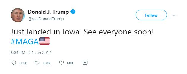 Trump's campaign slogan continues to live on Twitter.