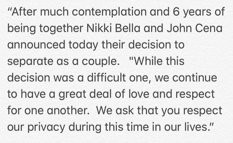Nikki Bella John Cena breakup statement