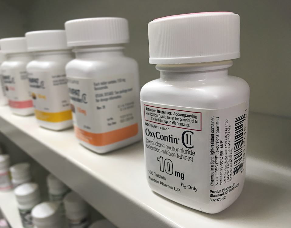 Oxycontin bottle on shelf