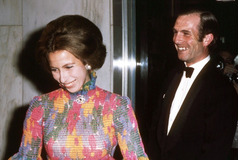 """Britain's Princess Anne and her fiance Captain Mark Phillips, attend the London premiere of the film """"Jesus Christ Superstar"""" 24 August 1973, shortly after her 23rd birthday, and on the couple's first public engagement."""