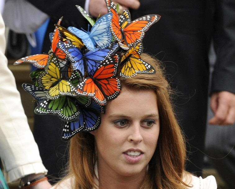 Britain's Princess Beatrice attends the wedding of Peter Phillips 30, to Autumn Kelly 31, at St George's Chapel in Windsor on May 17, 2008.