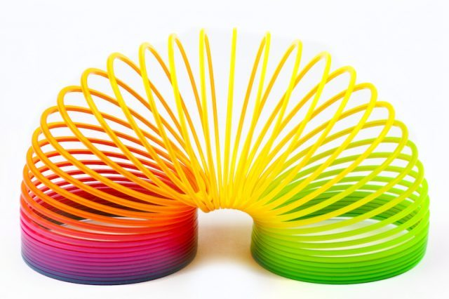 A colorful slinky.