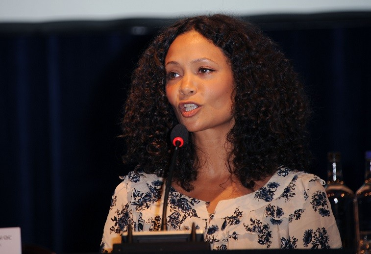 Thandie Newton attends the launch of Reducing Domestic Violence for Peace One Day at Grosvenor House, on March 21, 2012 in London, England.