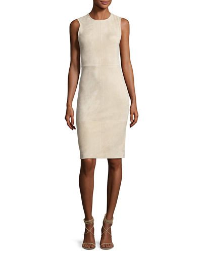 Theory Eano L Stretch-Suede Sheath Dress