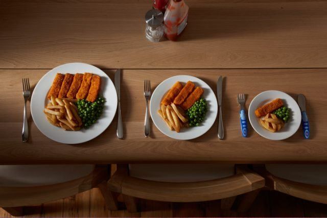 Different sized portions of food