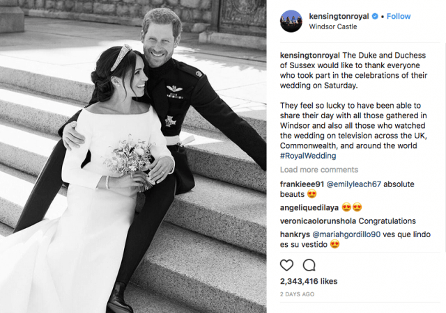 Instagram photo of Meghan Markle and Prince Harry