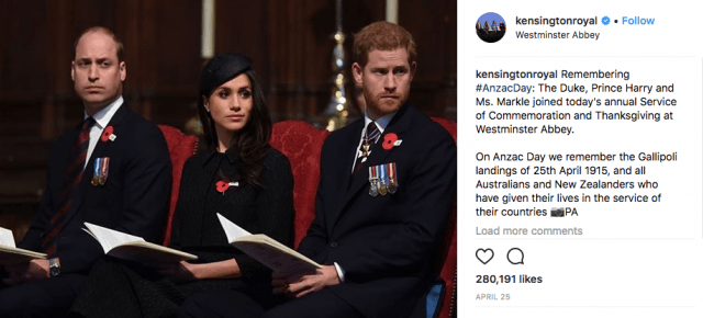 Prince William, Meghan Markle, and Prince Harry at a Service of Commemoration