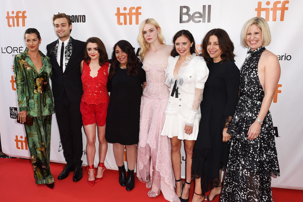 "Amelia Warner, Douglas Booth, Maisie Williams, Haifaa Al-Mansour, Elle Fanning, Bel Powley, Joannie Burstein and Emma Jensen attend the ""Mary Shelley"" premiere"