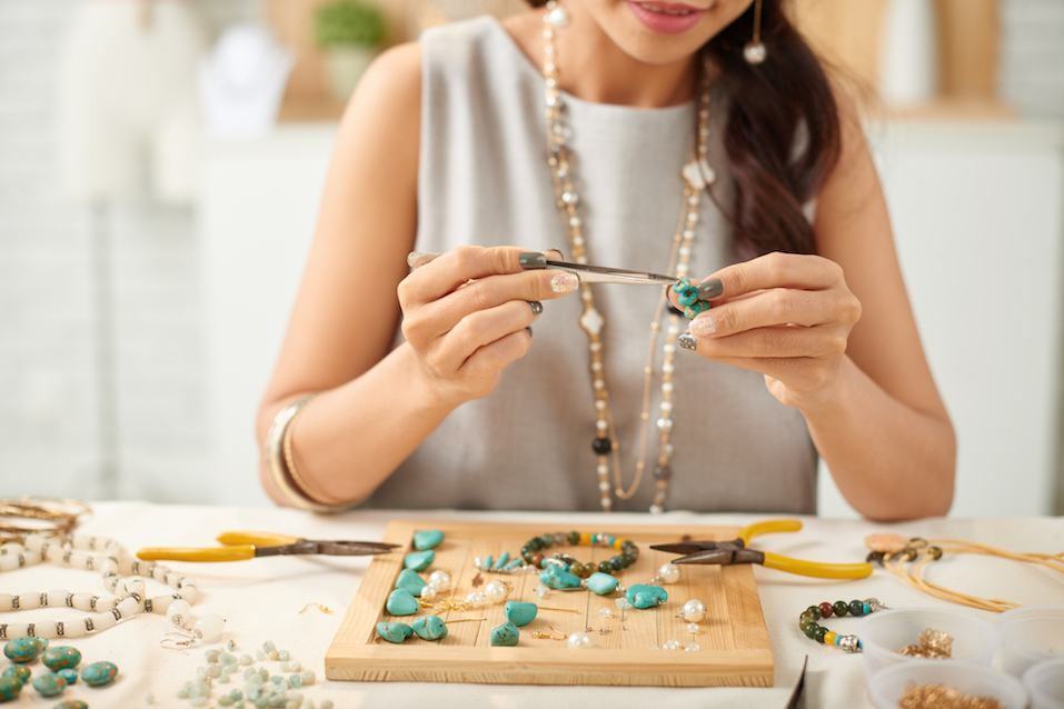 A women doing arts and crafts
