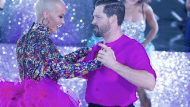 Amber Rose and Val Chmerkovskiy dancing together.