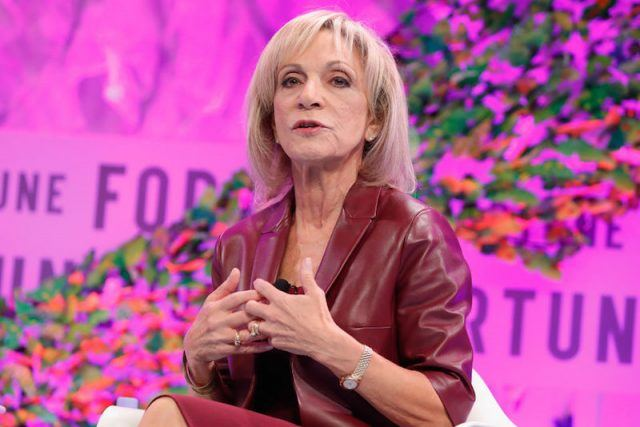 Andrea Mitchell during a conference.