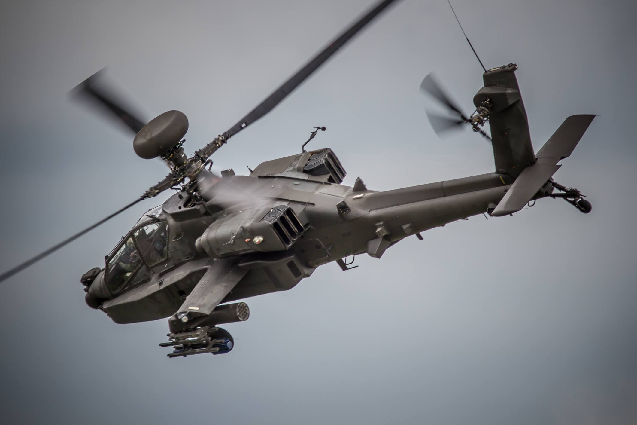 Apache Attack Helicopter Gunship in Flight