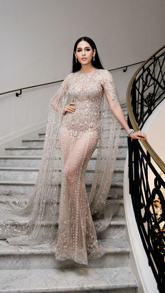 Araya Hargate departs the Martinez Hotel during the 71st annual Cannes Film Festival