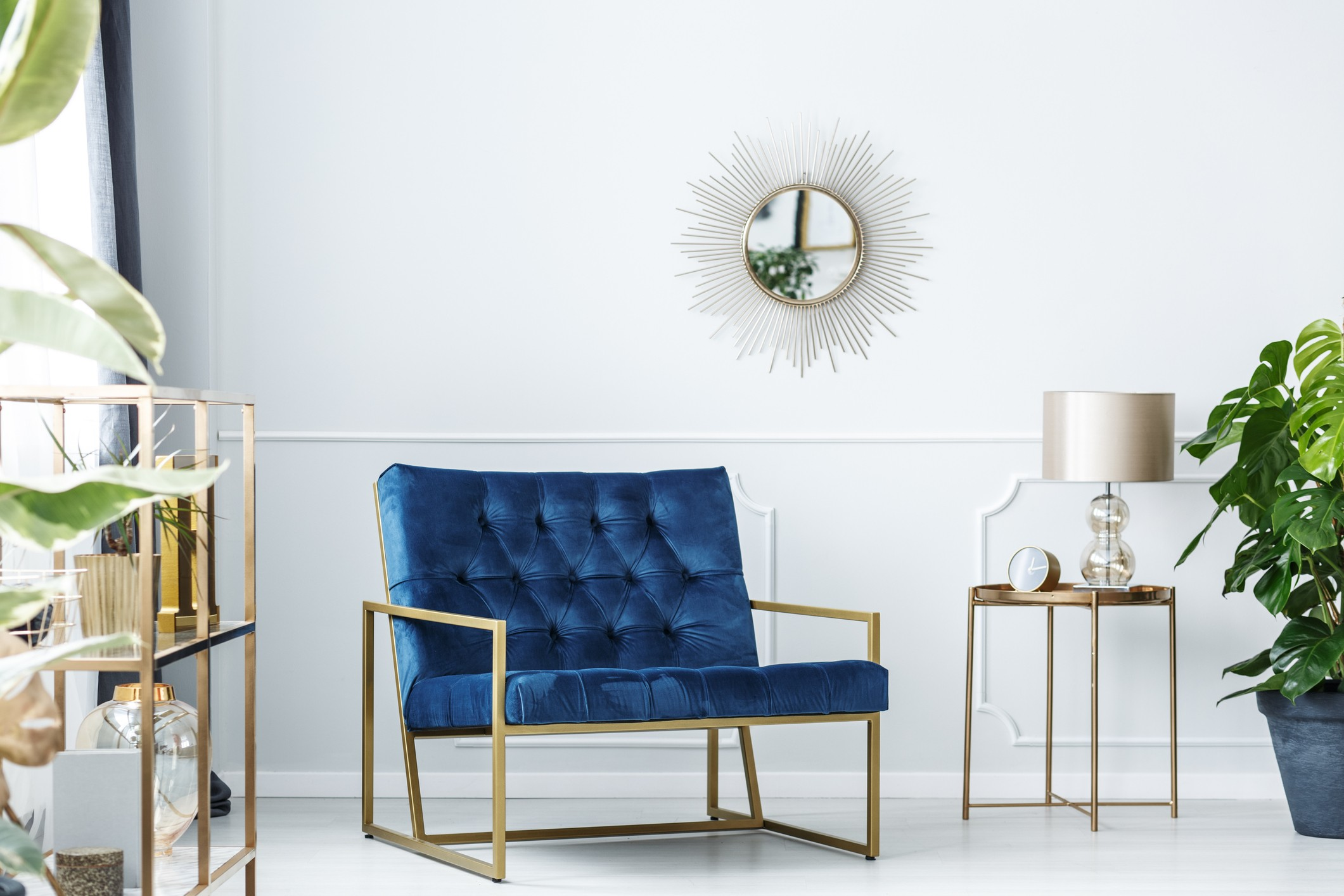 Navy blue living room with art deco style