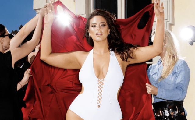 Ashley Graham in a white swimsuit.