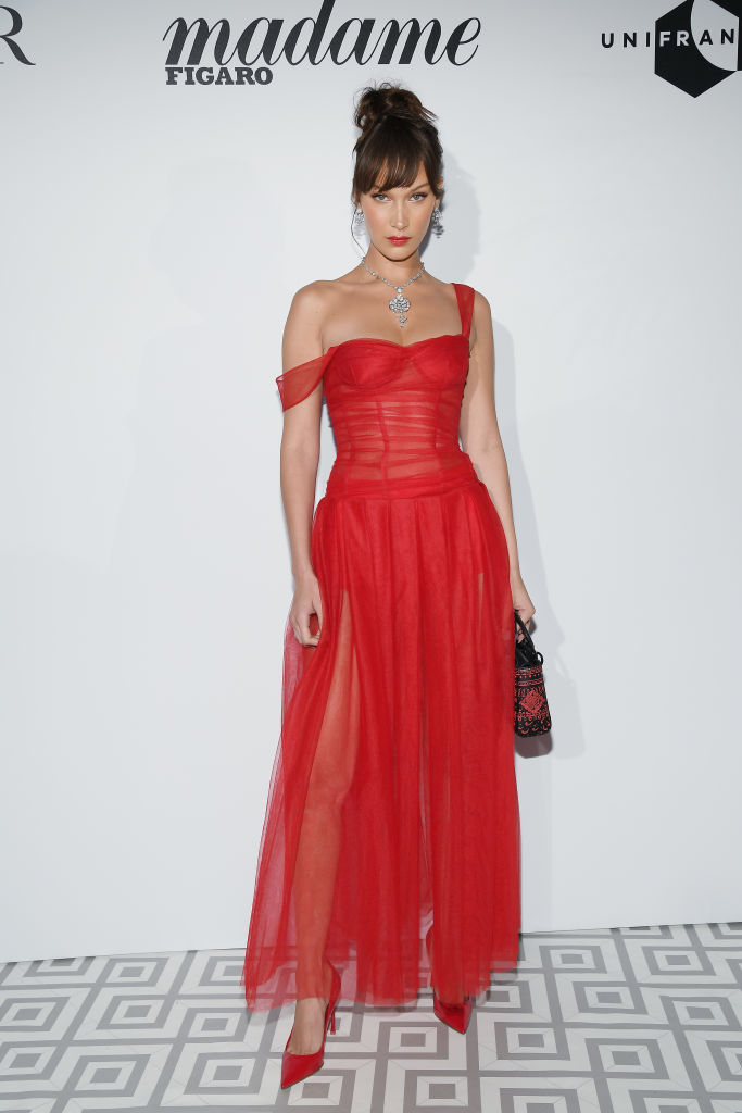 Bella Hadid attends a Dior dinner during the 71st annual Cannes Film Festival