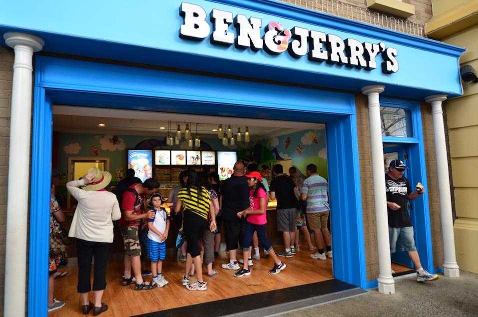 Customers buy icecream in Ben & Jerry's ice cream store