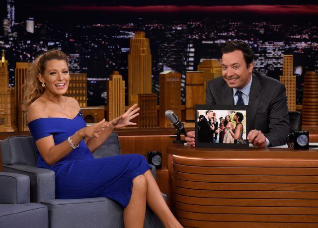 Blake Lively with Jimmy Fallon.