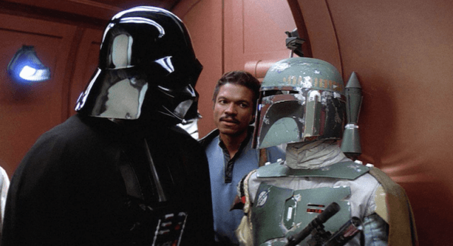 Darth Vader talking to Boba Fett.