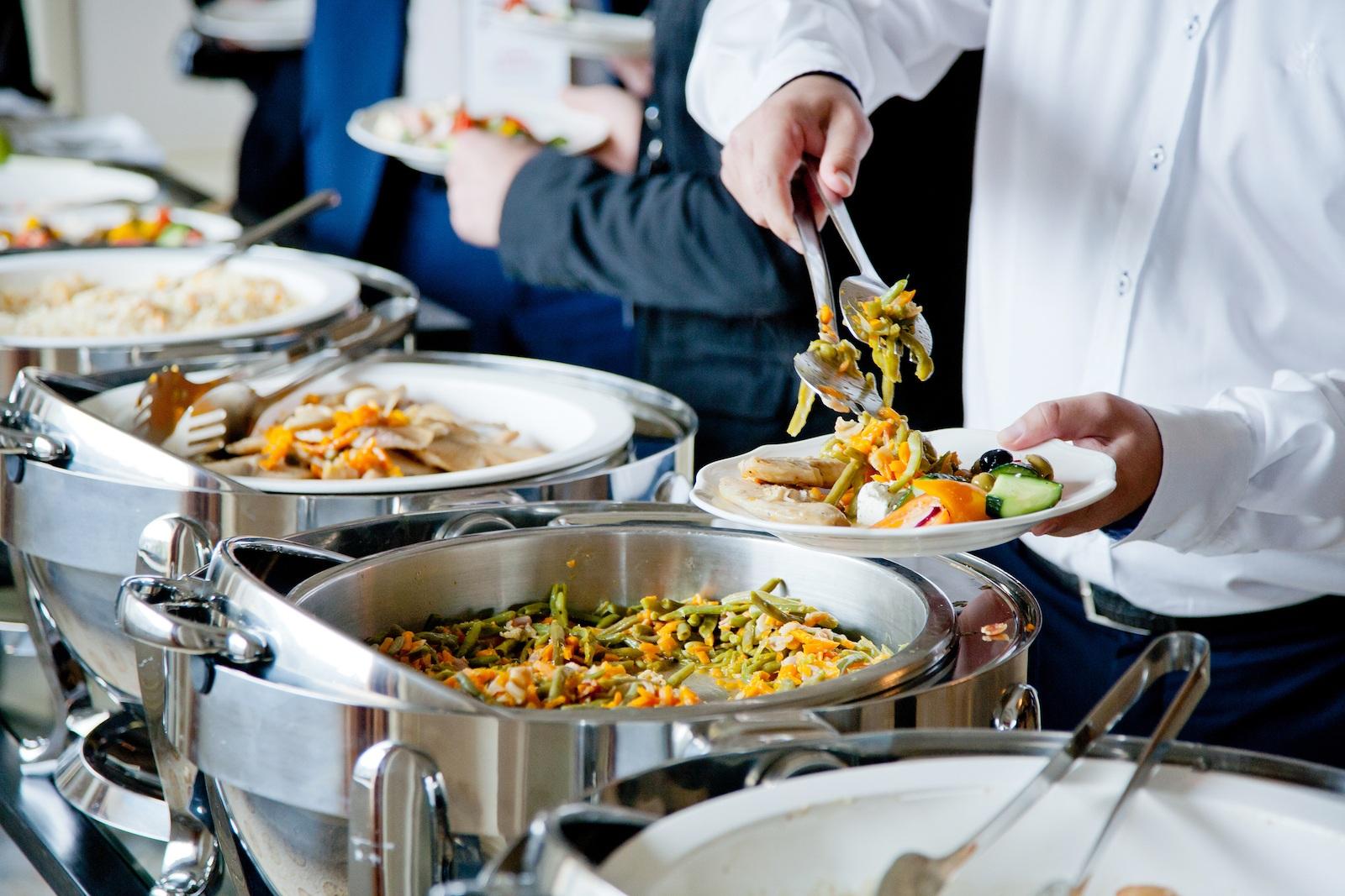 Buffet meal at a banquet
